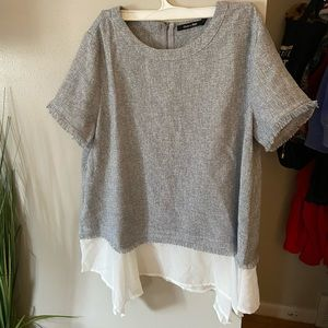 Doe and rae sheer layer blouse